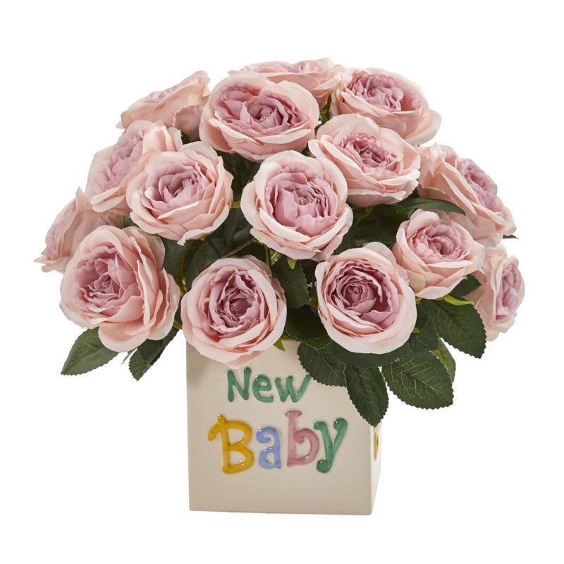 12 in. Rose Artificial Arrangement New Baby Vase