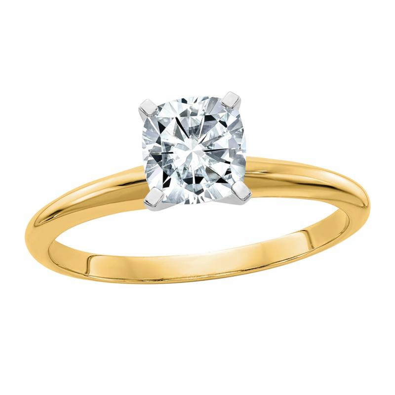 14K Gold 1.10ct Moissanite Cushion-Cut Solitaire Ring