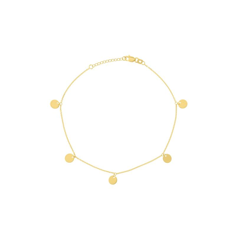 14K Gold Dangle Mini Disc Ankle Bracelet