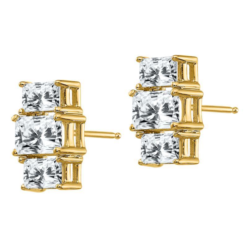 14K Gold Radiant-Cut 3-Stone Moissanite Earrings