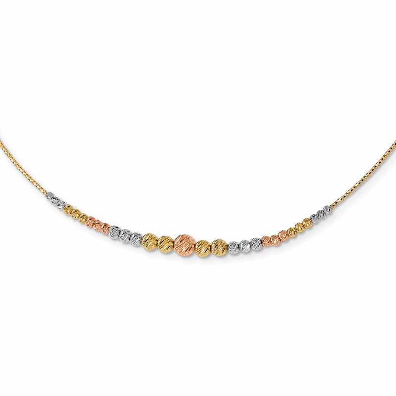 14K Tri-Color Beaded Wire Necklace