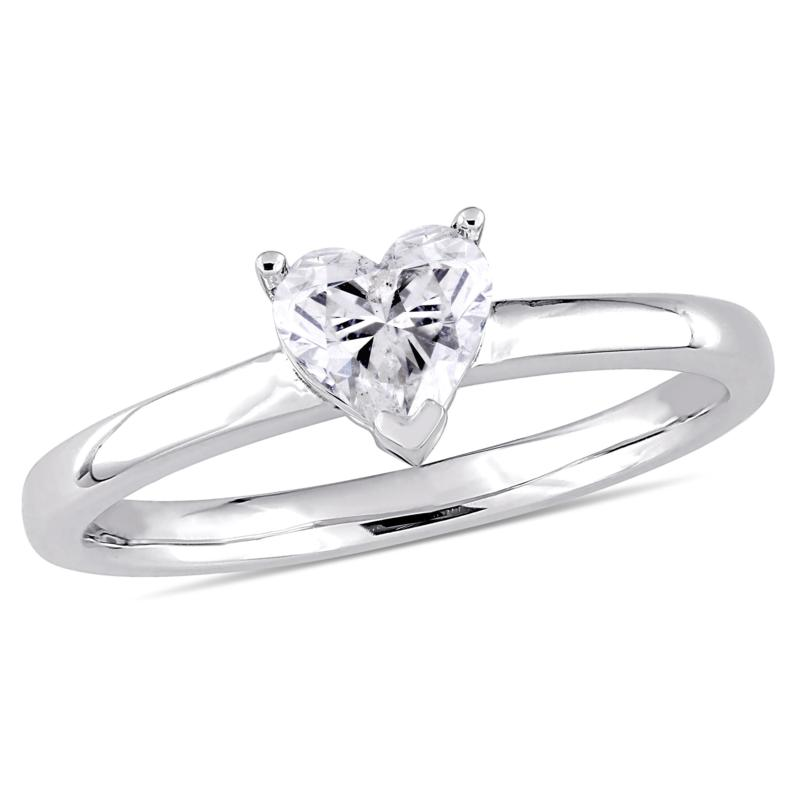 14K White Gold 0.50ct Diamond Heart Solitaire Engagement Ring