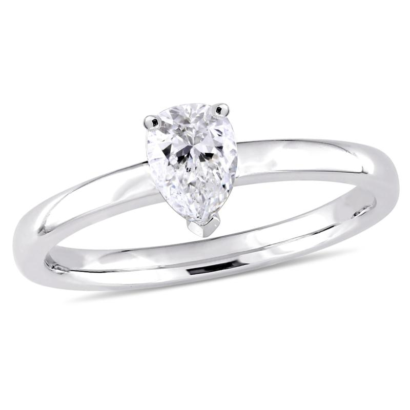 14K White Gold 0.50ct Diamond Pear-Shaped Solitaire Engagement Ring