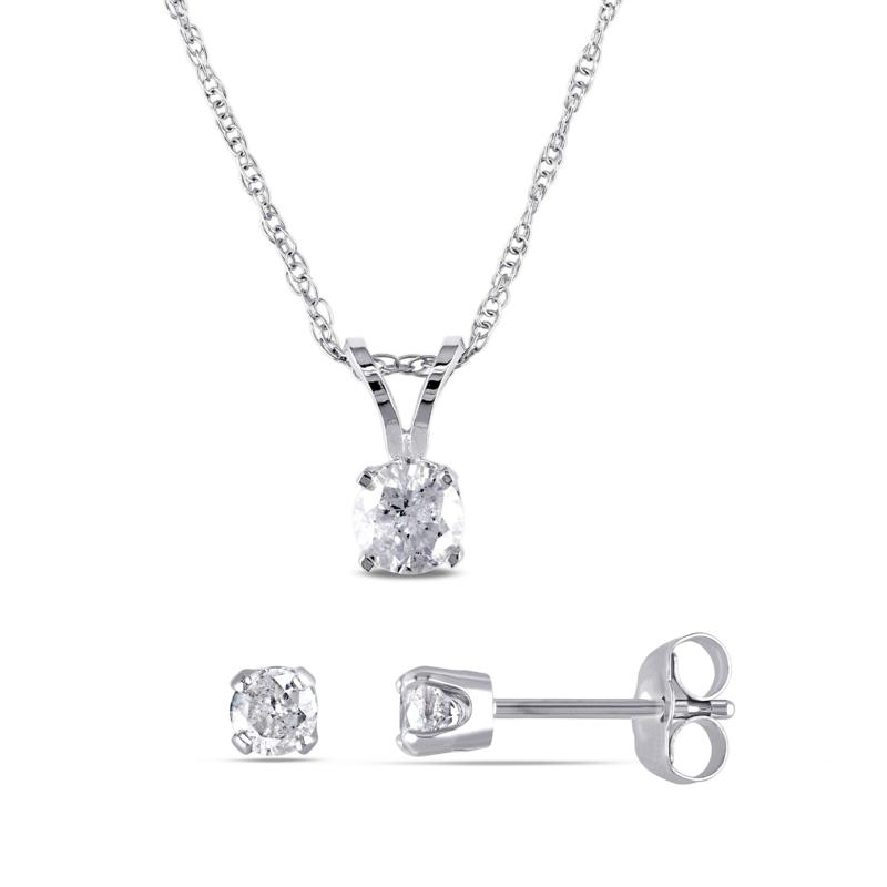 14K White Gold 0.65ctw Diamond Round Solitaire Earrings and Pendant