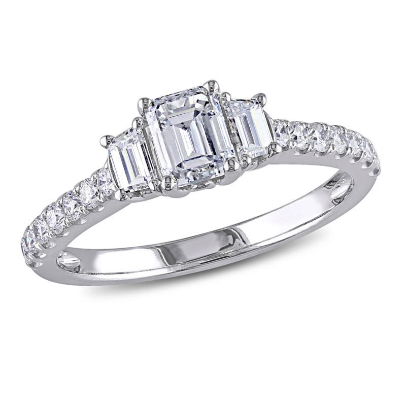 14k White Gold 1 25ctw Emerald Cut 3 Stone Diamond Engagement Ring 8657323 Hsn