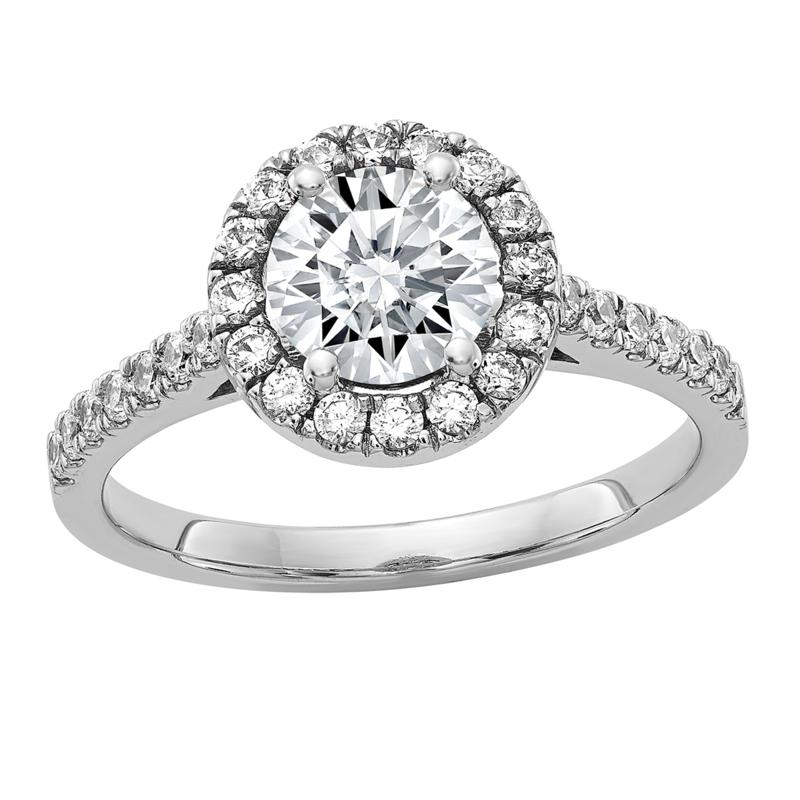 14K White Gold 1.45ctw Moissanite Round Halo Engagement Ring