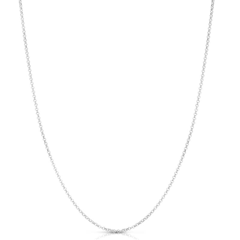 """14K White Gold 18"""" 1.9mm Rolo and Oval Chain"""