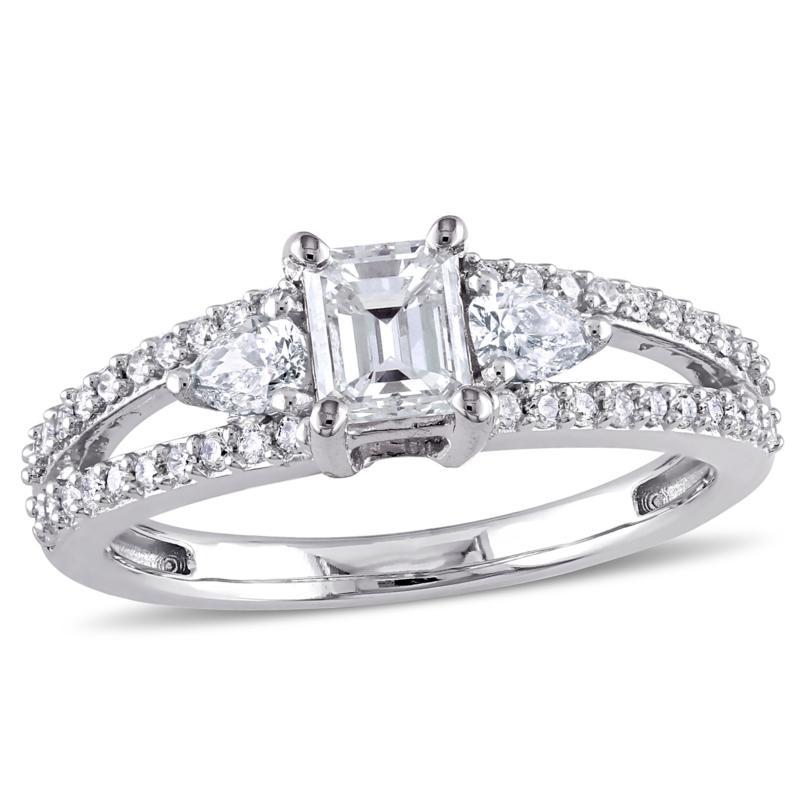 14K White Gold 1ctw 3-Stone Split Shank Diamond Engagement Ring