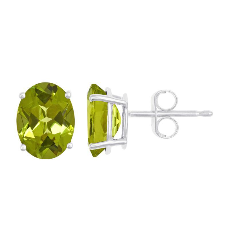 14K White Gold Oval-Cut Gemstone Stud Earrings
