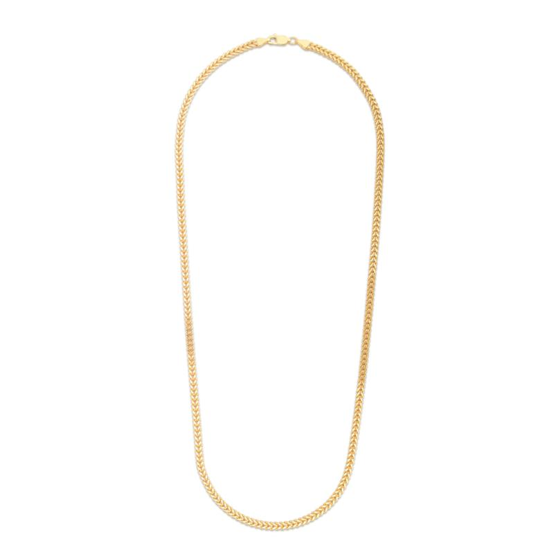 """14K Yellow Gold 3.2mm Semi-Solid Square Franco Chain Necklace - 24"""""""