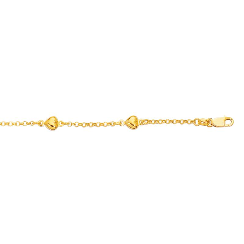 14K Yellow Gold Multi-Heart Station Chain Bracelet