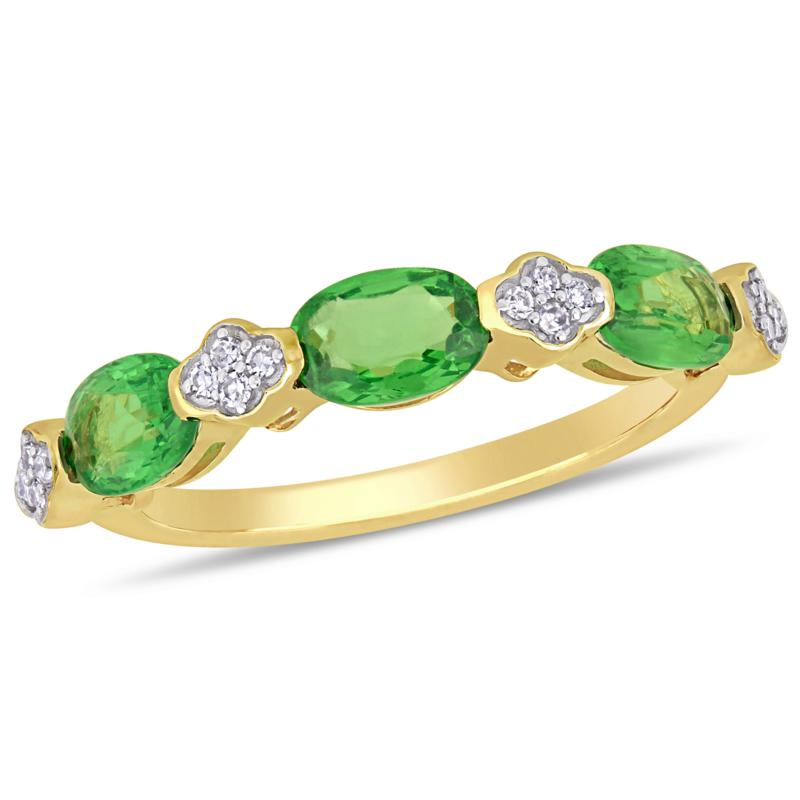 14K Yellow Gold Oval Tsavorite and Diamond Semi-Eternity Ring