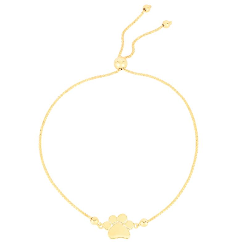14K Yellow Gold Polished Pawprint Adjustable Bolo Bracelet