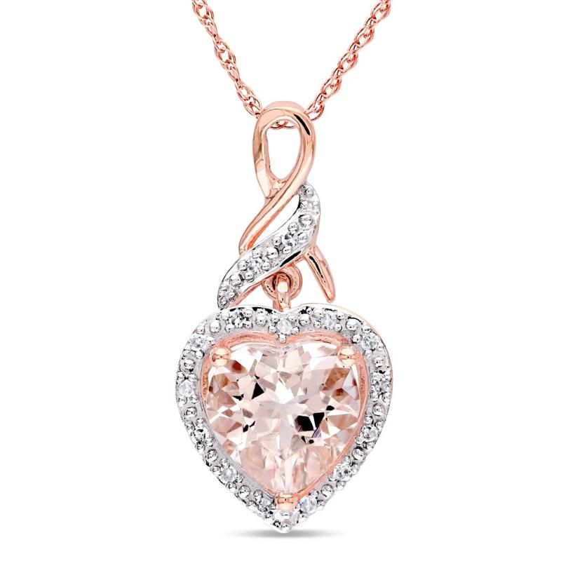1.76ctw Morganite and Diamond 10K Infinity Pendant