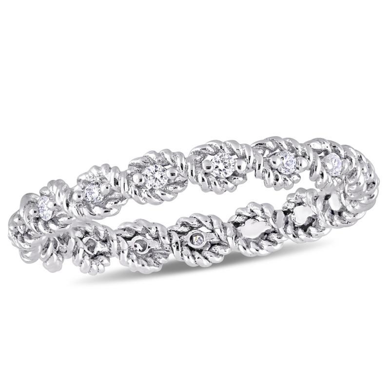 .17ctw White Diamond 10K White Gold Band Ring
