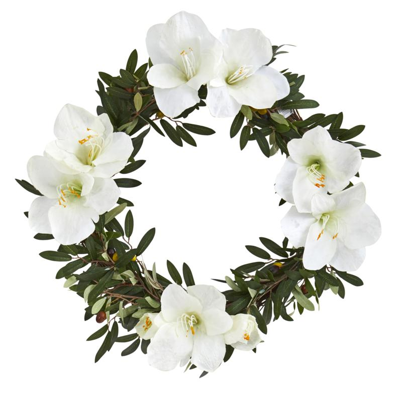 "21"" Olive with Amaryllis Artificial Wreath"