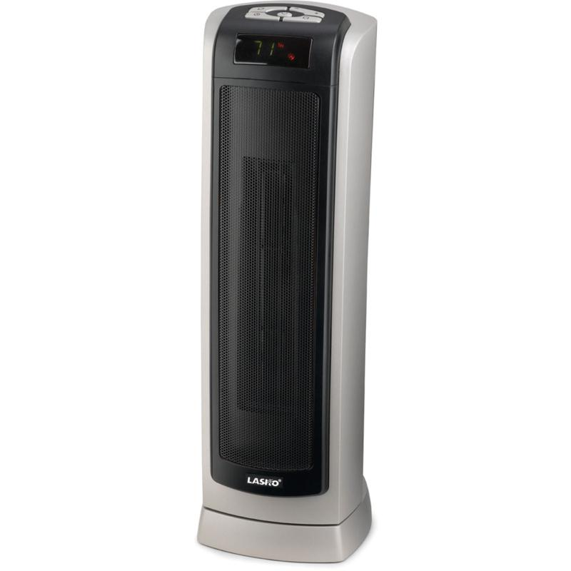 23 In. Ceramic Tower Heater with Remote Control - Silver-Gray / Black