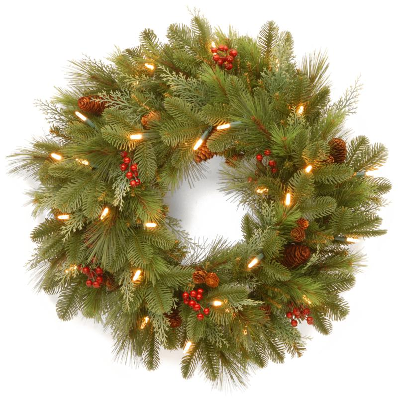 "24""Battery-Operated Noelle Wreath w/LEDs"