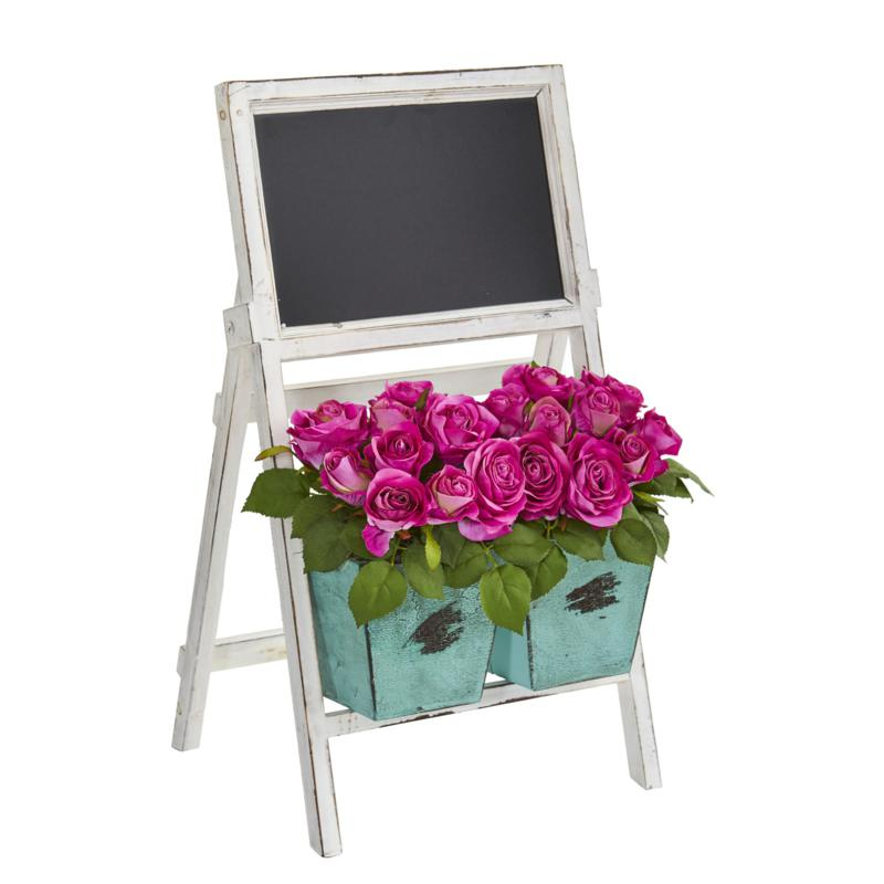 """26"""" Artificial Rose Arrangement in Farmhouse Stand with Chalkboard"""