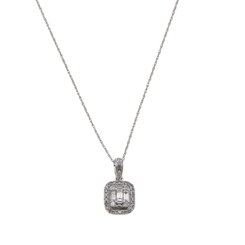 .41ctw White Diamond Baguette and Round-Cut 14K White Gold Pendant