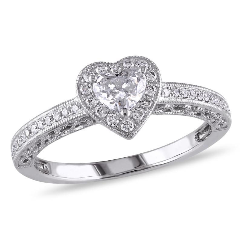 .50ctw Diamond Heart Halo 14K White Gold Engagement Ring