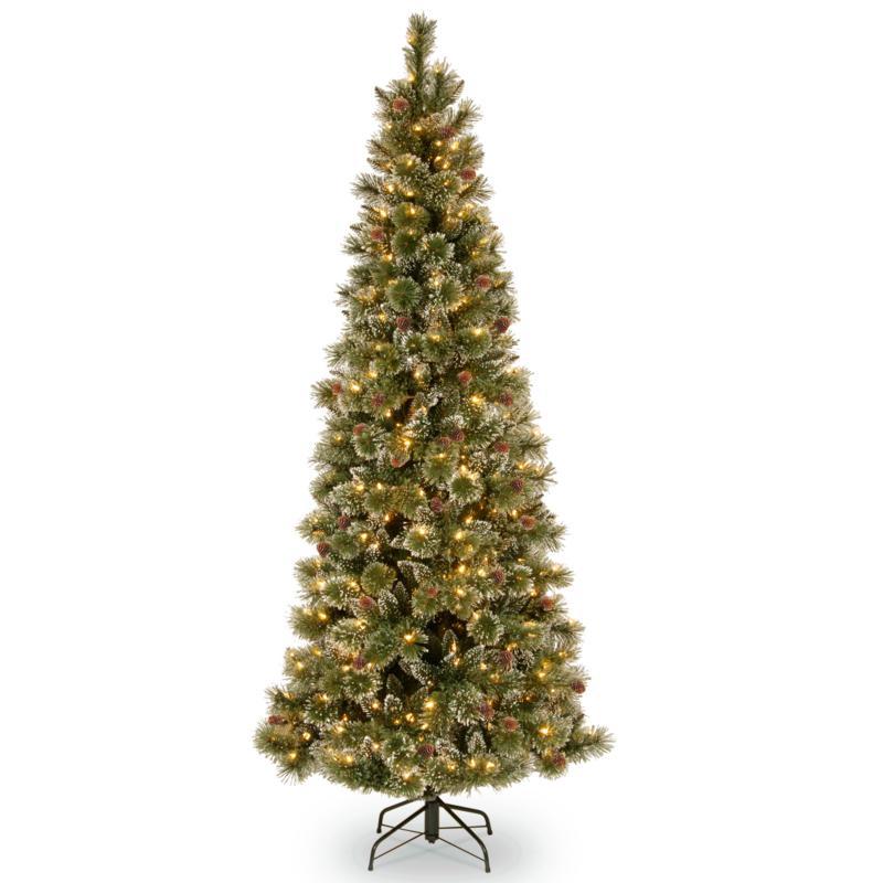 7-1/2' Glittery Bristle Slim Pine Tree w/Lights