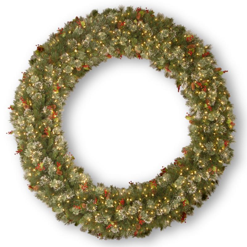 """72"""" Wintry Pine Wreath w/Lights"""