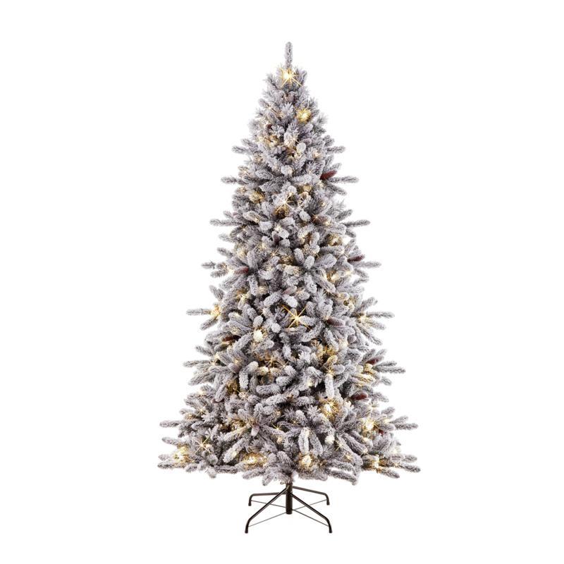 7.5' Flocked Artificial Birmingham Fir/400 Clear Lights Christmas Tree