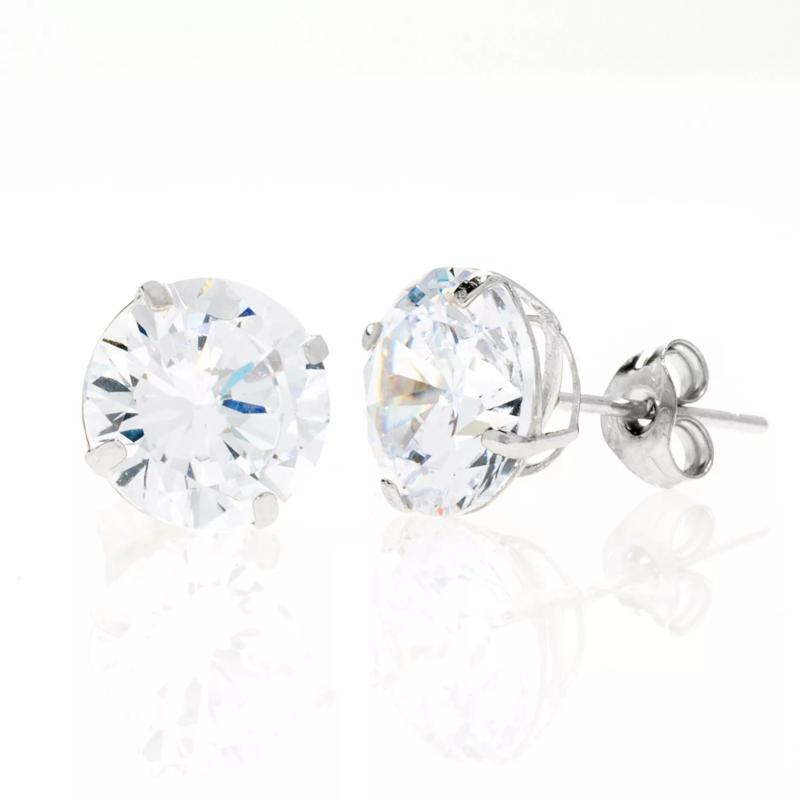 A&M 14K White Gold 4mm Round Cubic Zirconia Stud Earrings