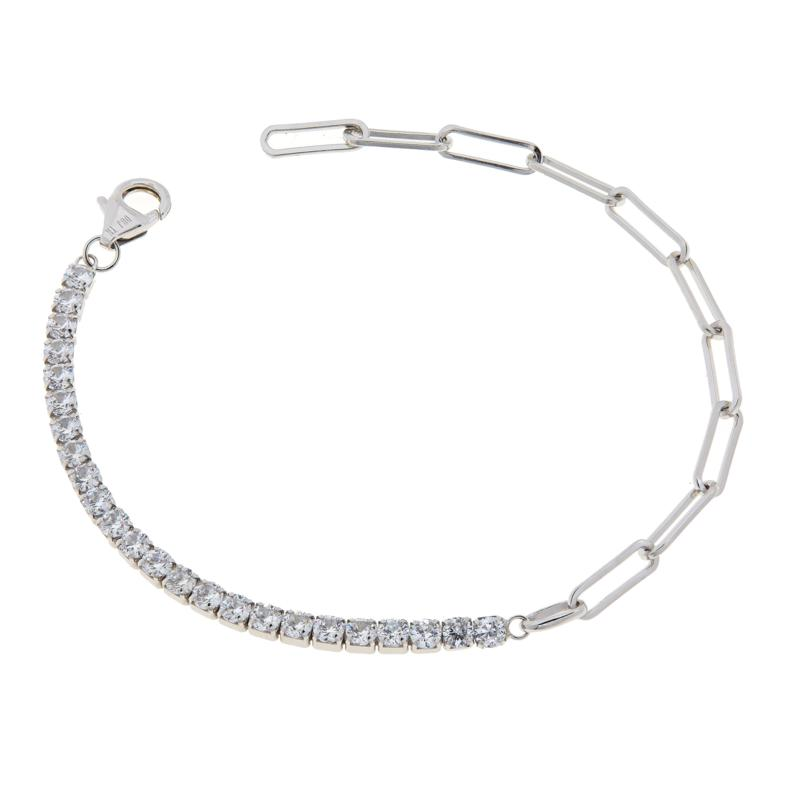 Absolute™ Cubic Zirconia Paperclip Link Adjustable Tennis Bracelet