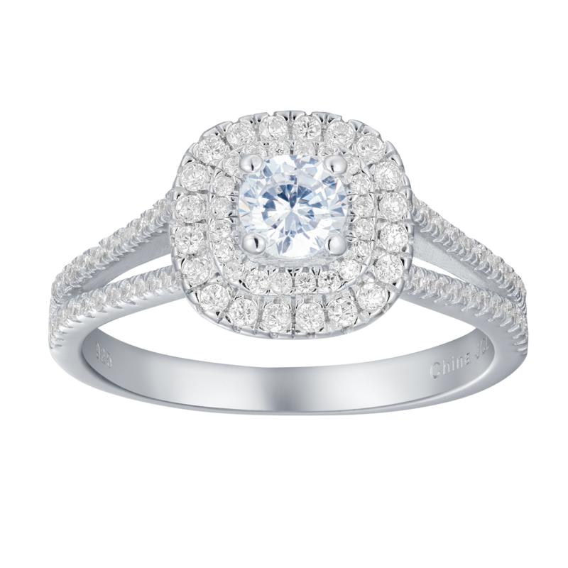 Absolute™  Cubic Zirconia Round Double Halo Engagement Ring