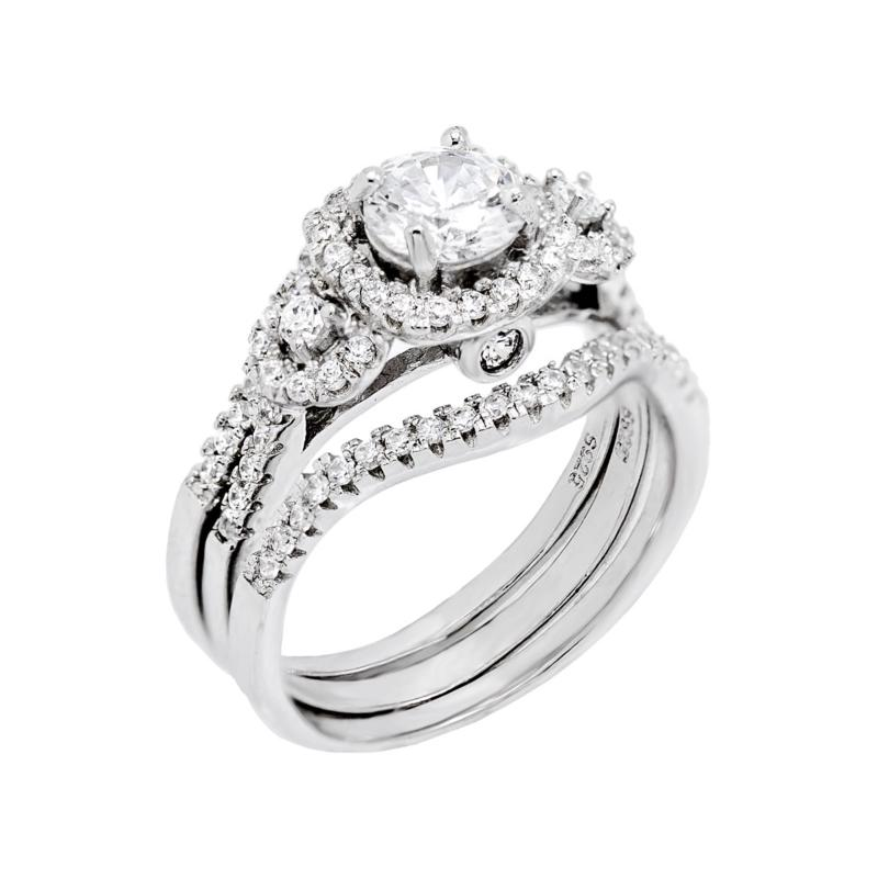 Absolute™ Cubic Zirconia Round Halo Station 3-piece Ring Set