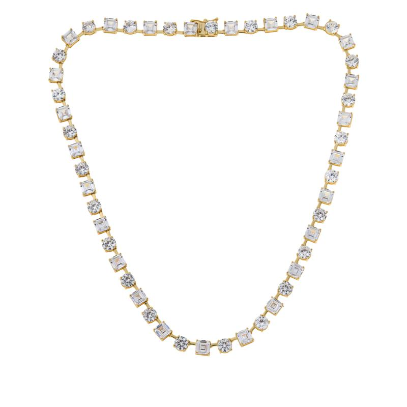 Absolute™ Gold-Plated Asscher and Round Tennis Necklace