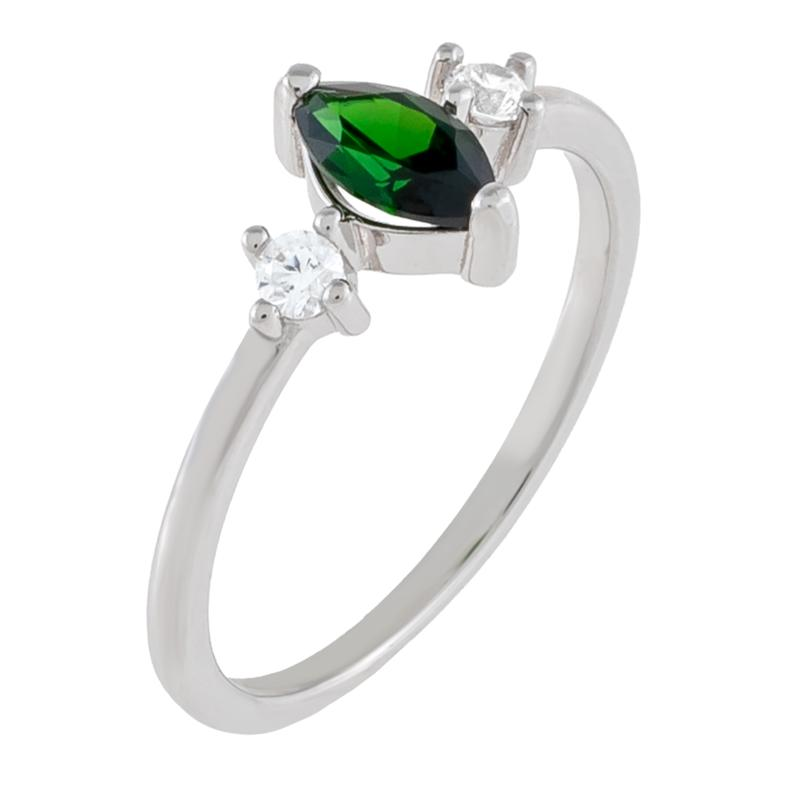 Absolute™ Simulated Emerald and Clear CZ Marquise Cut Ring