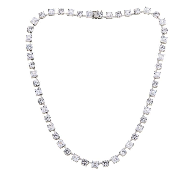 Absolute™ Sterling Silver Asscher and Round Tennis Necklace