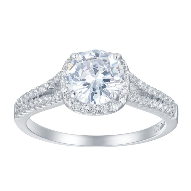 Absolute™ Sterling Silver Cubic Zirconia Round Halo Engagement Ring