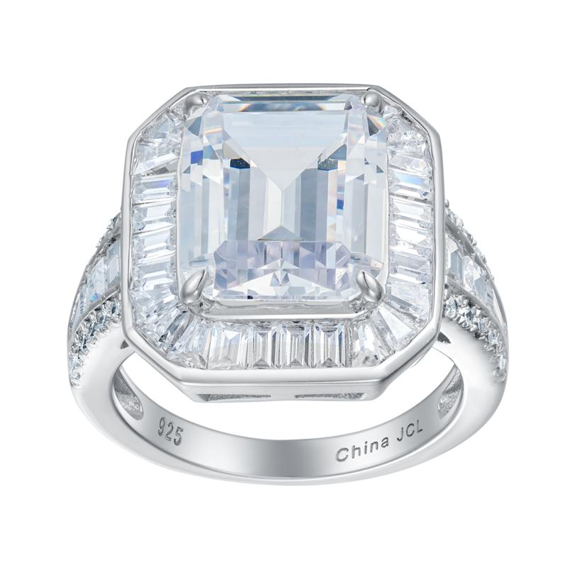 Absolute™ Sterling Silver CZ Emerald-Cut and Baguette Engagement Ring