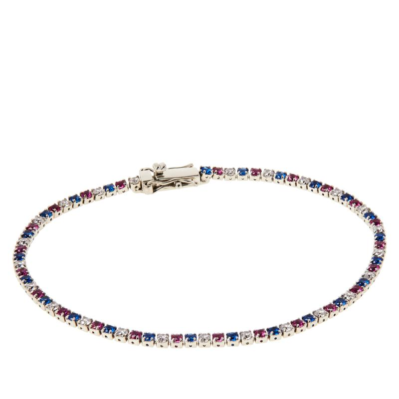 Absolute™ Sterling Silver CZ Red, White and Blue Tennis Bracelet