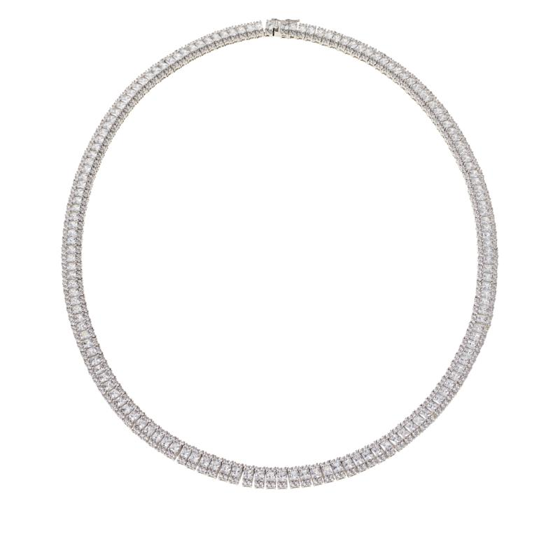 """Absolute™ Sterling Silver Princess and Round Tennis Necklace - 20"""""""