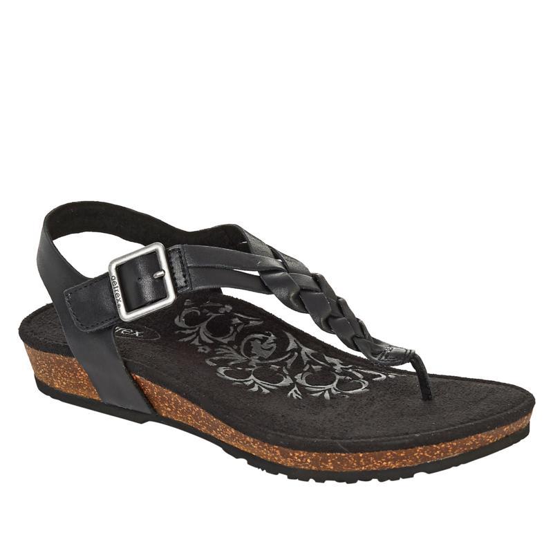 Aetrex® Harper Braided Leather Orthotic Thong Sandal