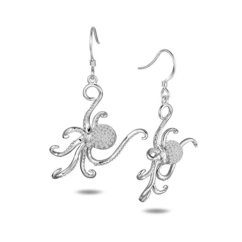 Alamea Sterling Silver CZ Octopus Earrings