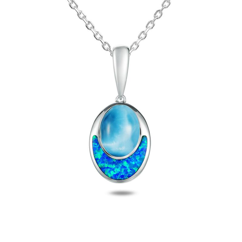 Alamea Sterling Silver Larimar and Created Opal Oval Pendant