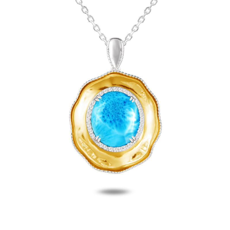 Alamea Two-Tone Sterling Silver Larimar and Topaz Pendant Necklace