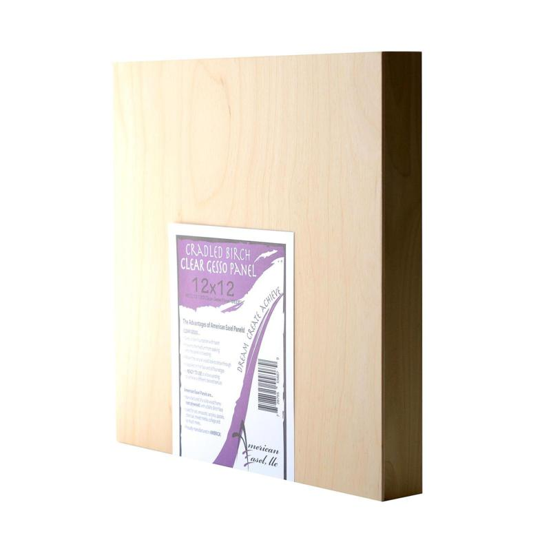 """American Easel 12"""" x 12"""" Clear Gesso Primed Wood Painting Panel"""