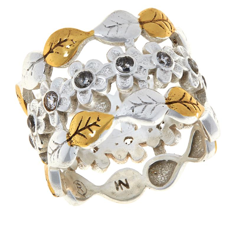 "Angie Spady ""Woman of All Seasons"" Two-Tone Floral Band Ring"