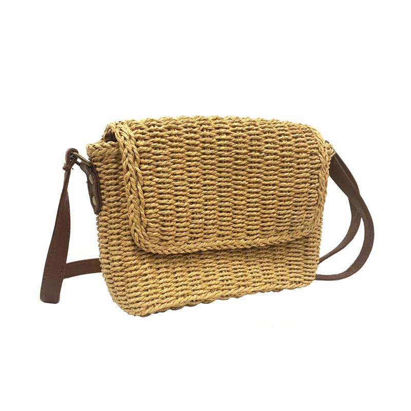 Anna Cai Wheat Straw Camera Bag with Faux Leather Strap