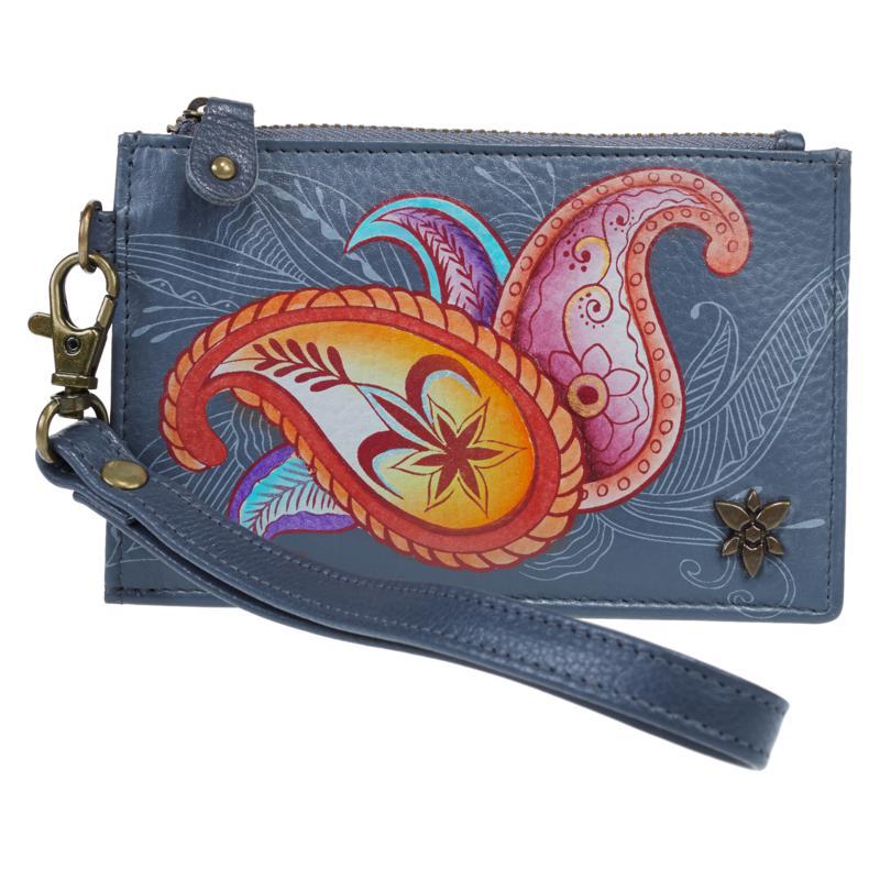 Anuschka Hand-Painted Leather Top-Zip Organizer Wallet