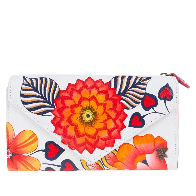 Anuschka Hand-Painted Leather Trifold Wallet