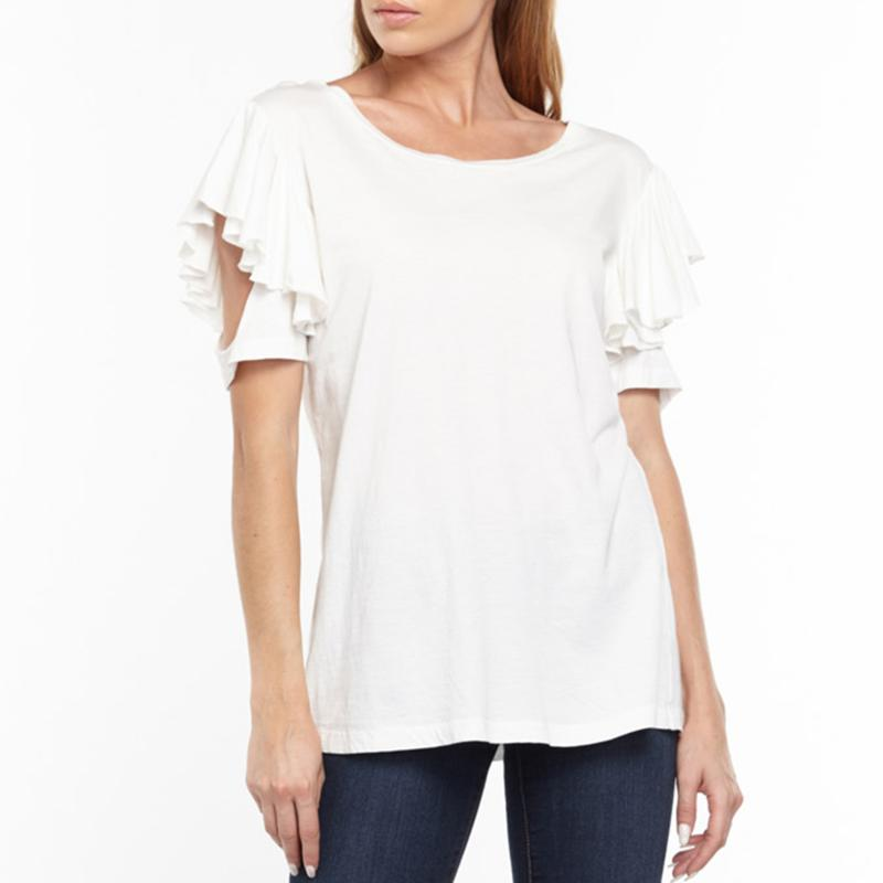 Aratta Kelsey Ruffle Sleeve T-Shirt - White