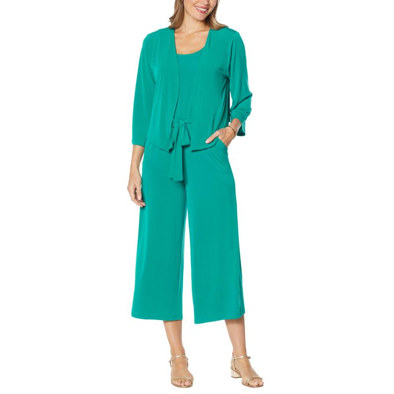 """""""As Is"""" Colleen Lopez 2-piece Easy Knit Jumpsuit and Cropped Cardigan"""
